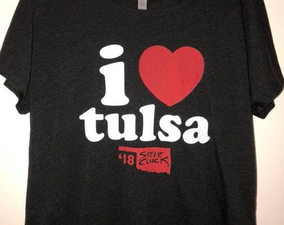 Women's I Heart Tulsa 2018 Limited Edition Tri-Blend Dolman Shirt Made with Love in Tulsa, Oklahoma by Pop Artist Steve Cluck