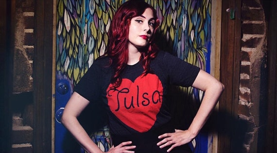 Tulsa - Made with Love in Tulsa, Oklahoma - hand printed T-shirt by pop artist Steve Cluck - 20% off with the coupon code MIMOSA