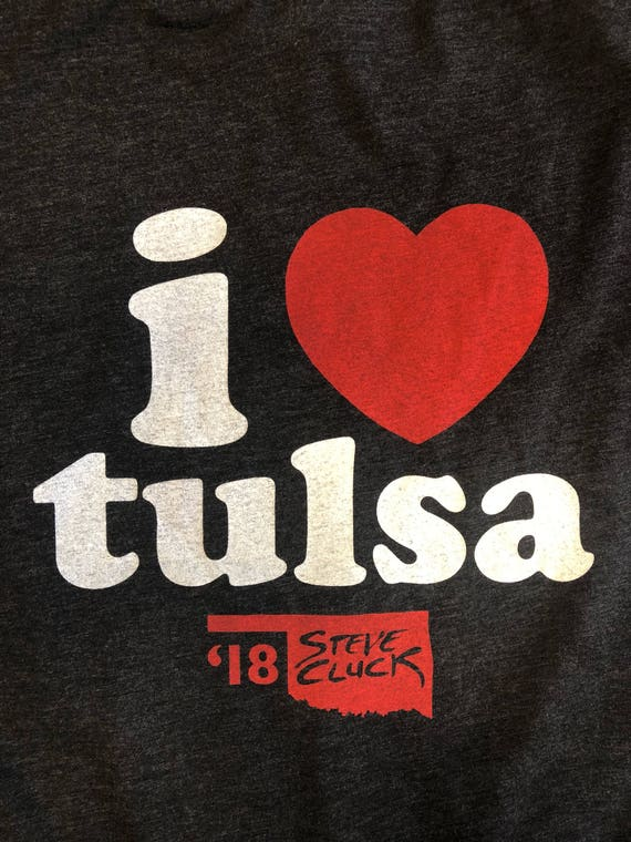 Unisex I Heart Tulsa 2018 Limited Edition V-neck T-shirt Made with Love in Tulsa, Oklahoma by Pop Artist Steve Cluck