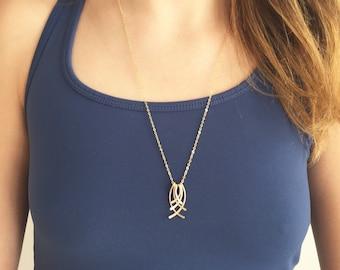 Long gold filled pendant, long necklace, Art Deco, gold fringe, modern gold, gold geometric, kinetic jewelry, delicate gold, Deco Fringe