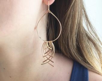 Gold statement earrings, big gold earrings, large gold drop, large gold dangle, gold teardrop, gold fringe, lightweight, long gold, Camila