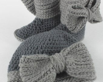 Crochet Bow Hat and Booties