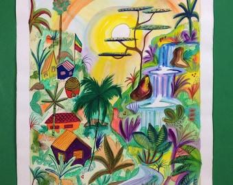 "Jamaica Scene original watercolor 14""x18"""