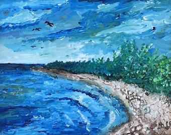 "Fish Bay original art by Jamaican artist Lionel Spence 9""x11"""