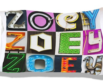 403bcdd3fc95 Personalized Pillow Case featuring ZOEY in sign letters  Custom pillow  cases  Teen bedroom decor  Cool pillowcase  Bedding
