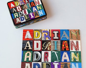 ADRIANA Name Poster featuring photos of actual sign letters