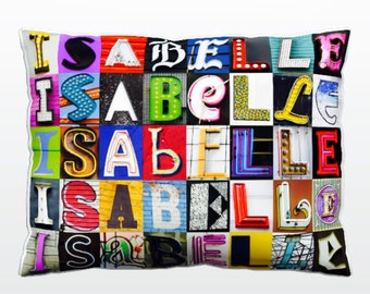 866c07a38294 Personalized Pillow featuring ISABELLE in photos of sign letters  Custom  couch cushions  Colorful pillows  Photo pillow  Sofa pillows