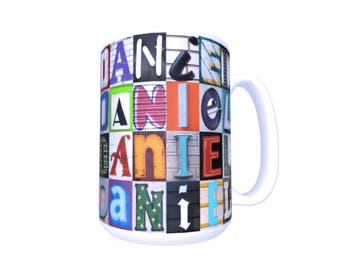 DOMINIC Coffee Mug Cup featuring the name in photos of actual sign letters