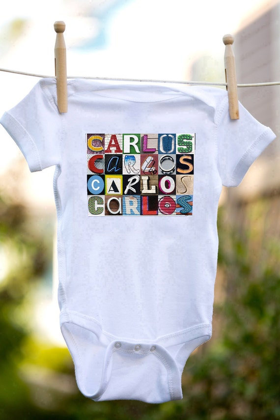 Personalized baby bodysuit featuring the name CHARLES showcased in photos of letters from actual signs; Baby gift; Baby shower