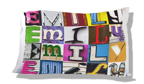 Personalized Pillow Case featuring EMRYS in sign letters; Custom pillow cases; Teen bedroom decor; Cool pillowcase; Bedding