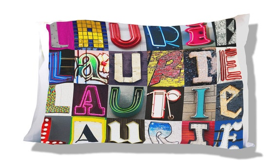 Personalized Pillowcase featuring ZACKARY in photos of actual sign letters