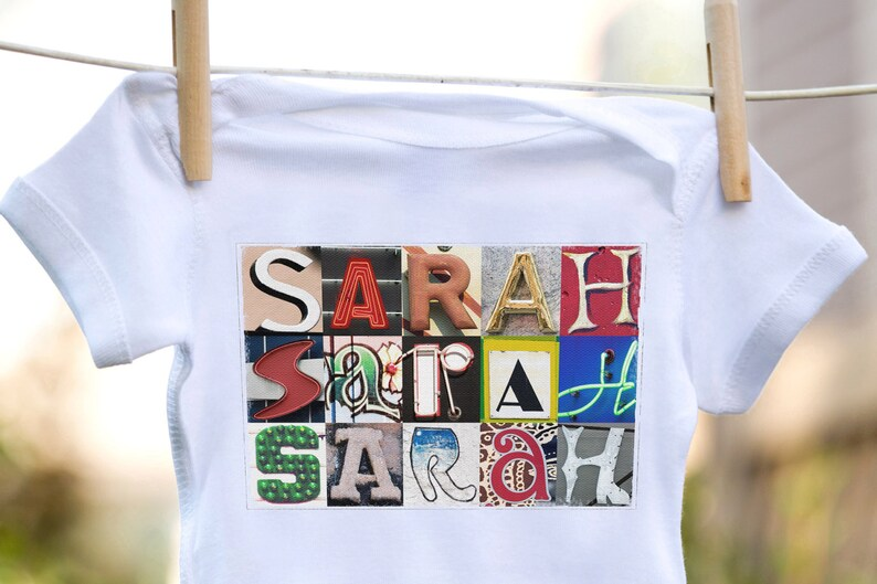 Personalized baby bodysuit featuring the name SARAH showcased in photos of letters from actual signs; Baby gift; Baby shower
