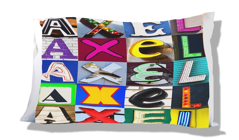 Personalized Pillow Case featuring AXEL in sign letters; Custom pillow cases; Teen bedroom decor; Cool pillowcase; Personalised bedding