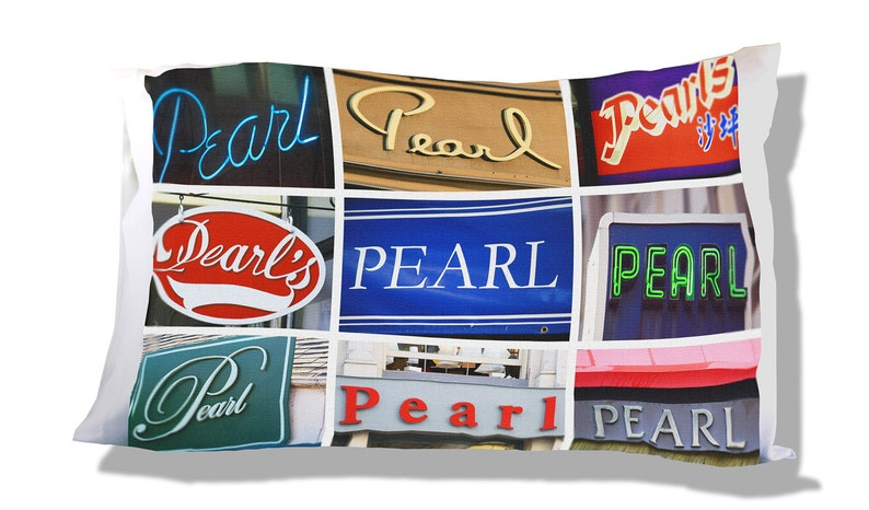 Personalized Pillow Case featuring PEARL in sign photos; Custom pillow cases; Teen bedroom decor; Cool pillow case; Personalised bedding