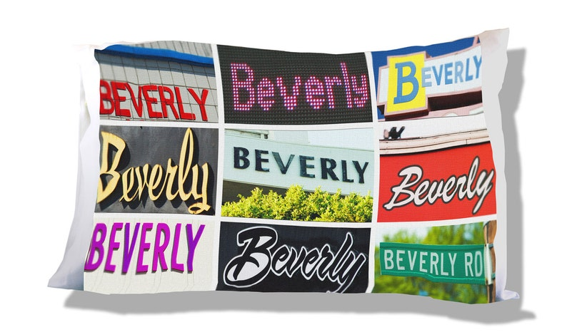 Personalized Pillow Case featuring BEVERLY in sign photos; Custom pillow cases; Teen bedroom decor; Cool pillow case; Personalised bedding