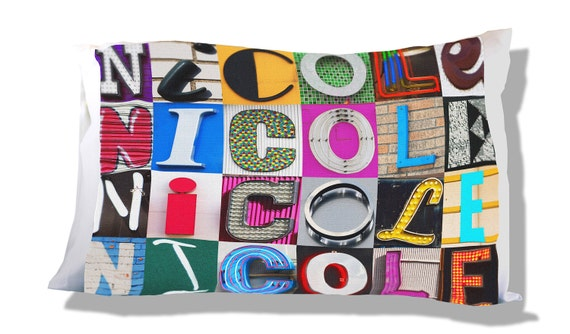 Personalized Pillow Case featuring DAKOTA in sign letters; Custom pillow cases; Teen bedroom decor; Cool pillowcase; Bedding