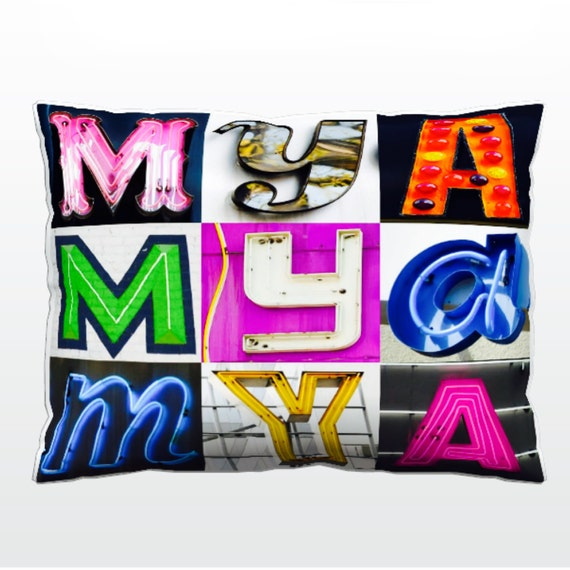 Personalized Pillow featuring SLOANE in photos of sign letters; Custom couch cushions; Colorful pillows; Photo pillow; Sofa pillows