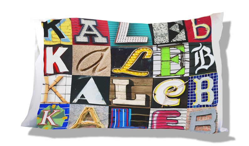 Personalized Pillow Case featuring KALEB in sign letters; Custom pillowcases; Teen bedroom decor; Cool pillowcase; Bedding