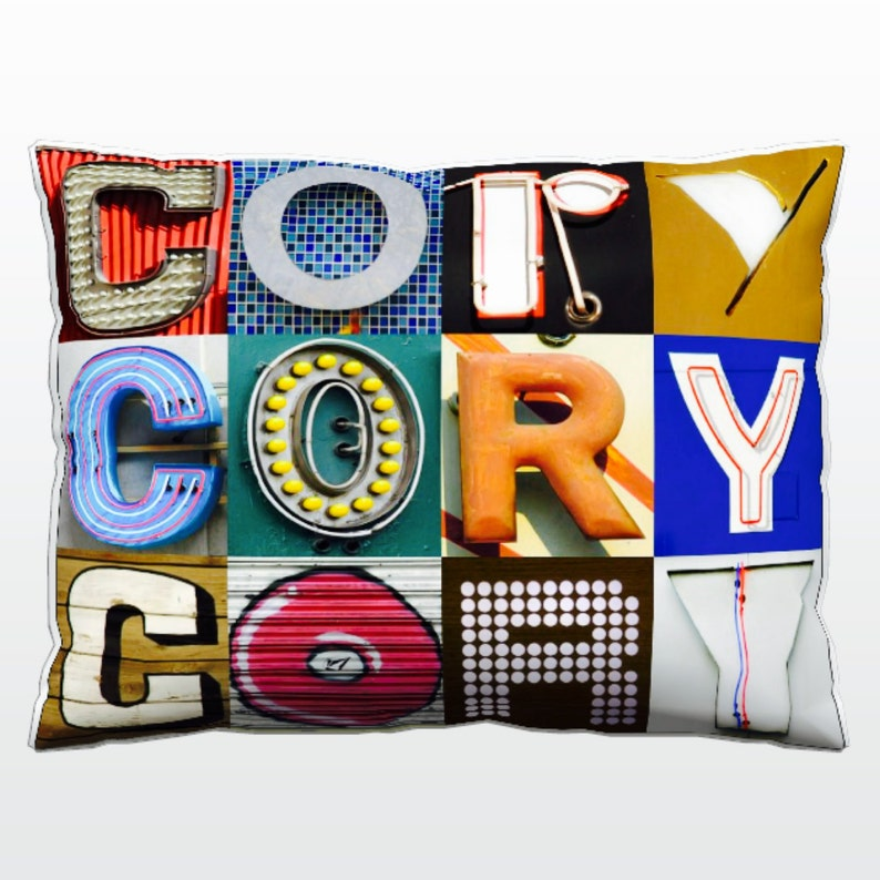 Personalized Pillow featuring CORY in photos of sign letters; Custom couch cushions; Colorful pillows; Photo pillow; Sofa pillows