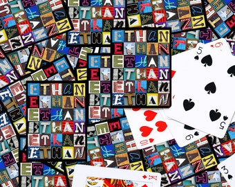 Personalized Playing Cards featuring the name ETHAN in letters from photos of actual signs; Deck of cards; Poker; Playing card
