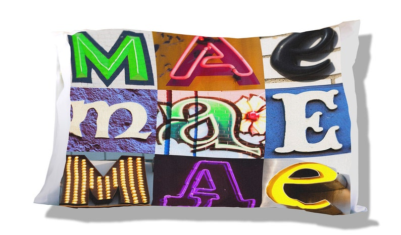 Personalized Pillow Case featuring MAE in sign letters; Custom pillowcases; Teen bedroom decor; Cool pillowcase; Bedding