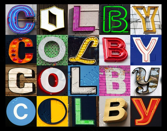 COLBY Name Poster featuring photos of actual sign letters