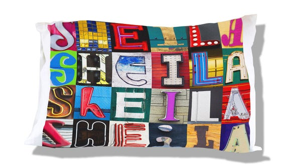 Personalized Pillow Case featuring LAURA in sign photos; Custom pillow cases; Teen bedroom decor; Cool pillow case; Personalised bedding