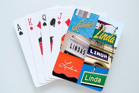 Cartes à jouer personnalisées comportant le nom LINDA en réelle signe photos; Cartes à jouer personnalisées; Jeu de cartes; Poker; Jeux de cartes