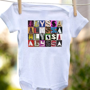 Personalized baby bodysuit featuring the name ALYSSA showcased