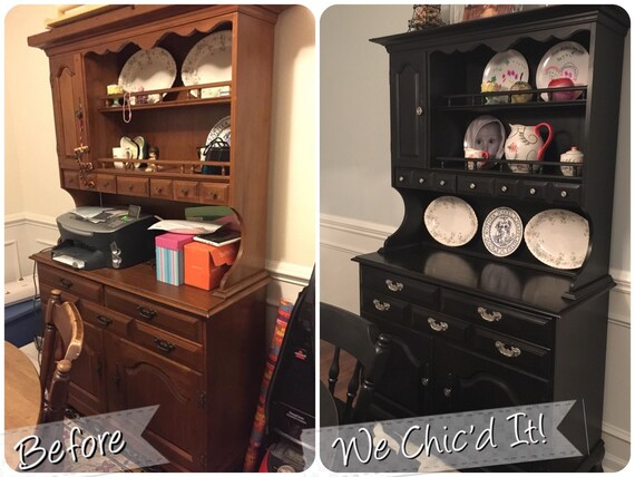For K...Refinished Dining Room Table, Chairs, Buffet/Hutch, & Custom Built  Wine Rack - SOLD