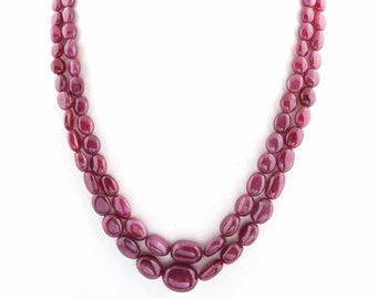 RARE 590.00 CTS EARTH MINED RICH RED RUBY ROUND FACETED BEADS NECKLACE STRAND