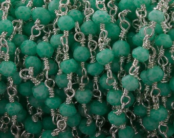 5 Feet Chrysoprase 2.5mm-3mm, Rosary Style Beaded Chain - Chrysoprase Beads Wire Wrapped 925 Sterling Silver Chain SRC035