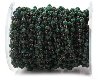 5 Feet Emerald 3-3.5MM Rosary Style Beaded Chain -Emerald Beads wire wrapped Oxidized 925 Sterling Silver Chain SRC033