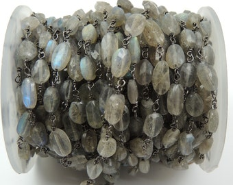 3 Feet Labradorite Oval 4-6mm Rosary Style Beaded Chain ,Labradorite Oval Wire Wrapped Oxidized 925 Sterling Silver Chain SRC029