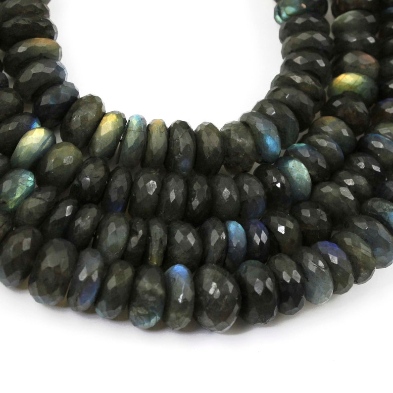 Roundel Beads 13mm-18mm 10 Inches  BR2237 1 Strand Labradorite Faceted Rondelles