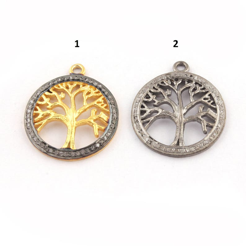 23mmx21mm PDC1241 Vermeil Rose Gold Veremil Single Bail Pendant 1 Pc Pave Diamond Tree Of Life Round Charm 925 Sterling Silver