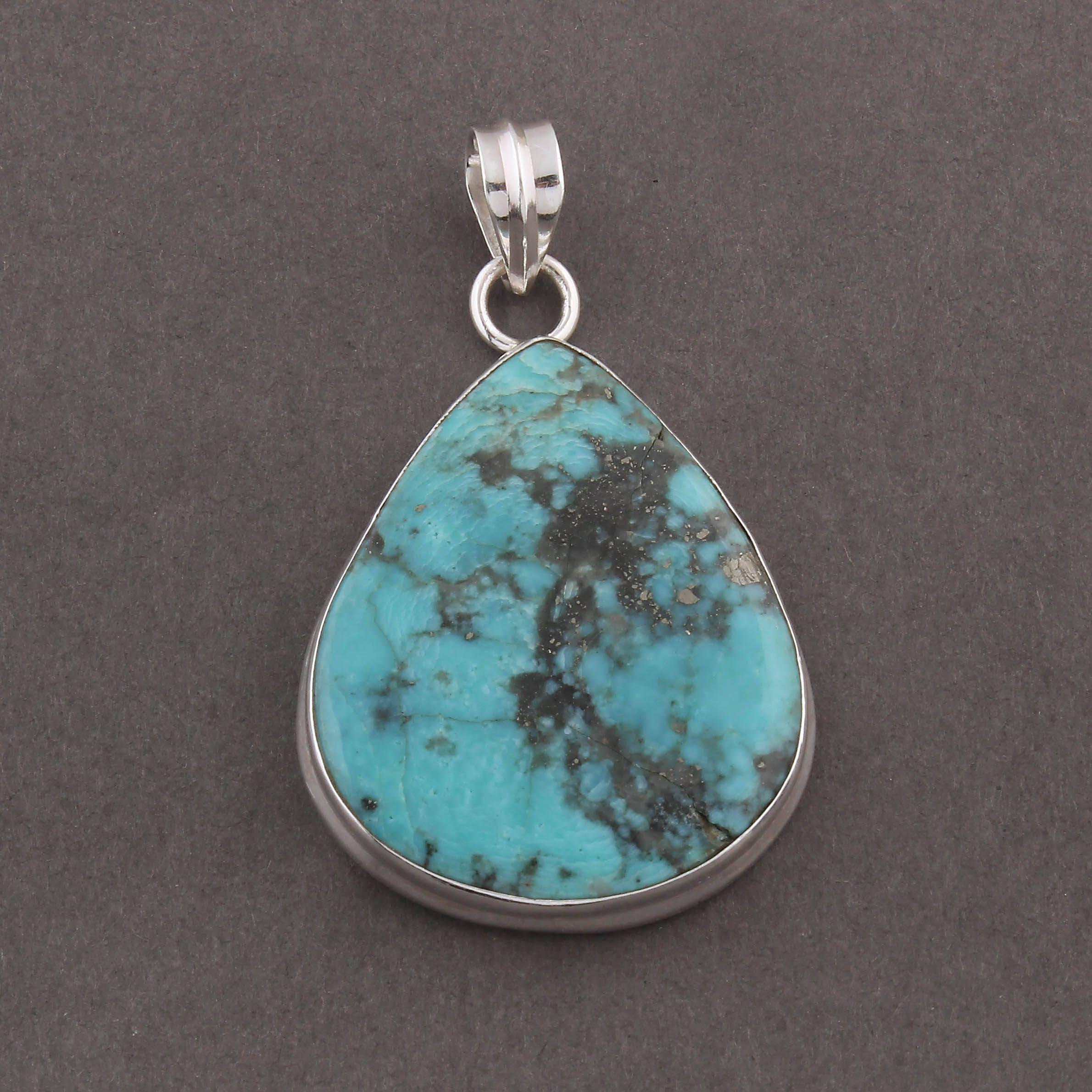 1 pc très belle poire poire poire en Turquoise naturelle véritable pendentif - pierres précieuses-argent 925 pendentif 45mmx32mm-11mmx5mm SJ076 aa625c