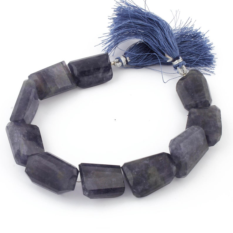 1 Strand Iolite Tumble Beads Faceted Briolettes Center Drill Tumble Beads 19mmx17mm-25mmx16mm 8 Inch BR3687