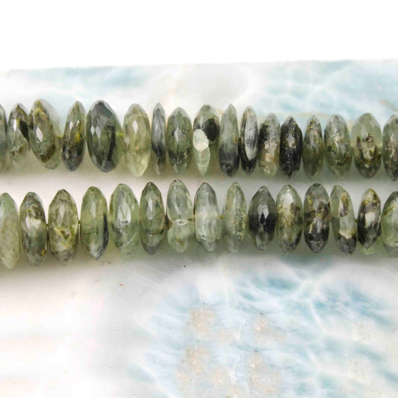 1 Strand Green Rutile German Cut Beads,Wheel Beads,Faceted Beads,8mm-14mm Br194