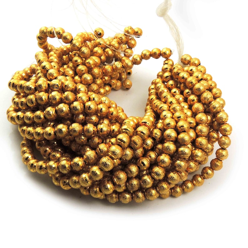 Copper Round Beads 5mmx6mm 7.5 Inches GPC763 Jewelry 4 Strands 24k Gold Plated Designer Copper Diamond Cut Round Beads