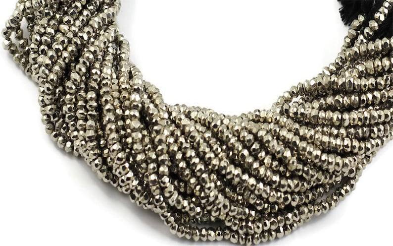 BULK LOT 100 Strands Dark Silver Pyrite Faceted Rondelles 3mm-3.5mm 13.5 inches strand