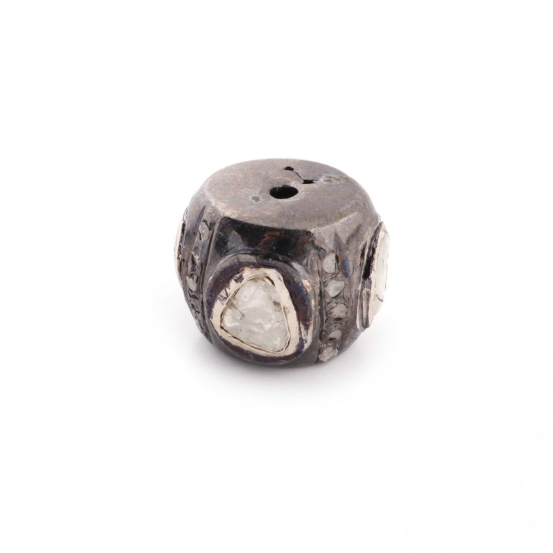 Antique Finish Bead With Hole Polki Beads 9mmx10mm PDC295 1 PC Pave Diamond Rosecut 925 Sterling Silver Round Bead