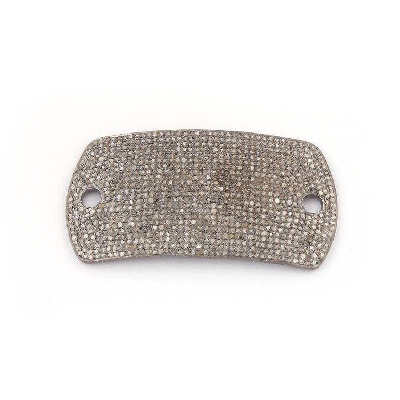 Diamond Charm Connector 54mmx28mm PDC1047 1 Pc Pave Diamond 925 Sterling Silver Rounded Rectangle Bead Connector