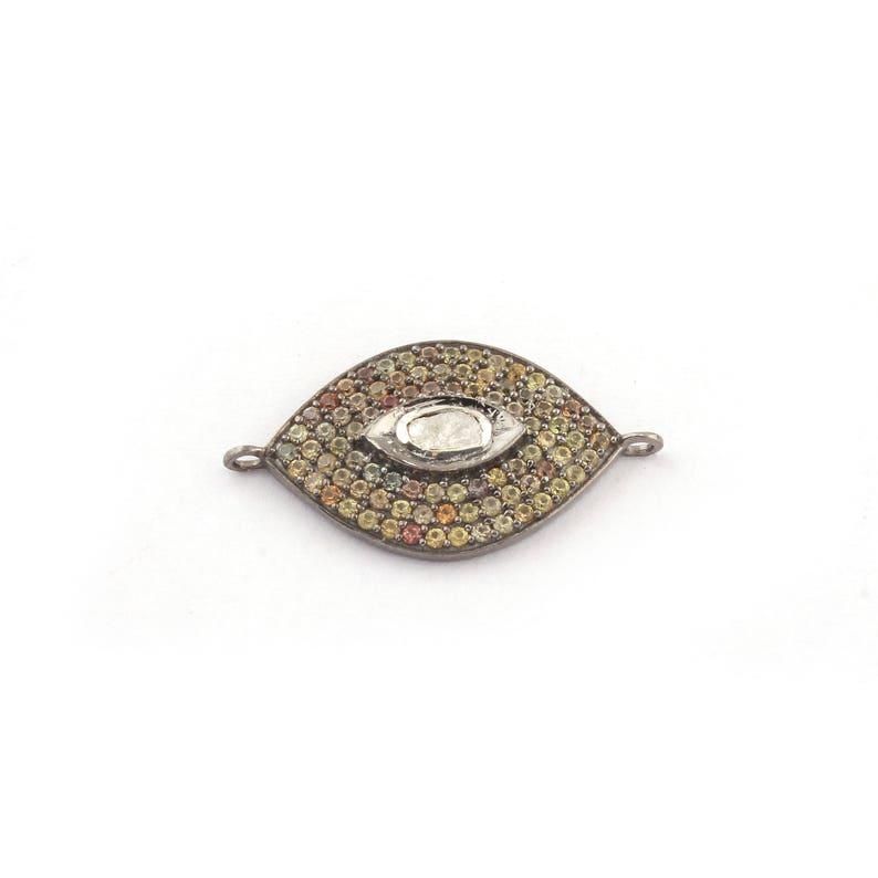 Polki Eye Pendant 27mmx15mm PDC1215 1 Pc Multi Sapphire Evil Eye Center In Rosecut 925 Sterling Silver Vermeil Pendant
