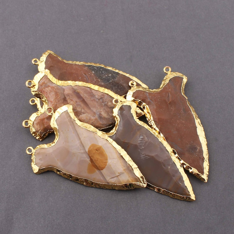 60mm-66mm AR059 5 PCS Jasper Arrowhead  24k Gold  Plated Charm Double Bail Pendant-Electroplated With Gold Edge