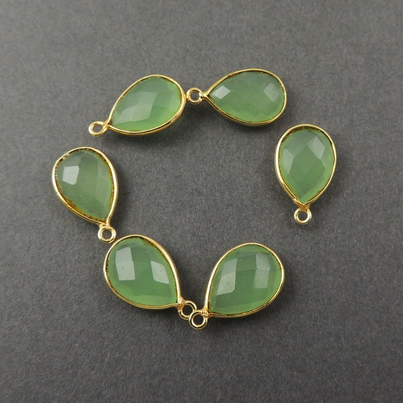 4 Pcs Green Chalcedony 925 Sterling Vermeil Faceted Pear Single Bail Pendant 18mmx11mm SS371