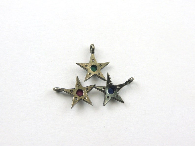 12mmx10mm PDC288 1 Pc Pave Diamond Emerald Ruby Blue Sapphire Star Charm 25 Sterling Silver Pendant You Choose