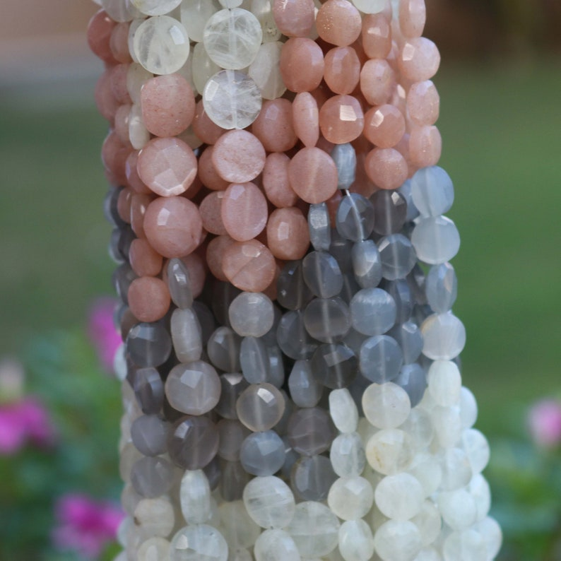 1 Strand Multi Moonstone  Faceted Coin Briolettes Multi Moonstone Coin Beads 7mm-11mm 10 Inch BR2189