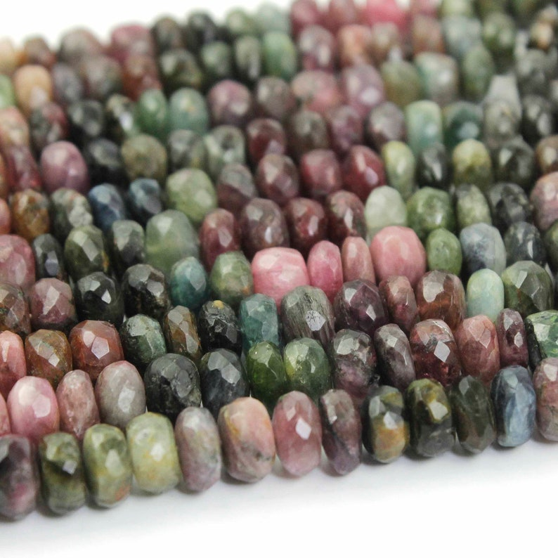 Roundle Beads 8mm-9mm 13 Inches BR030 1 Strand Multi Tourmaline Faceted  Rondelles