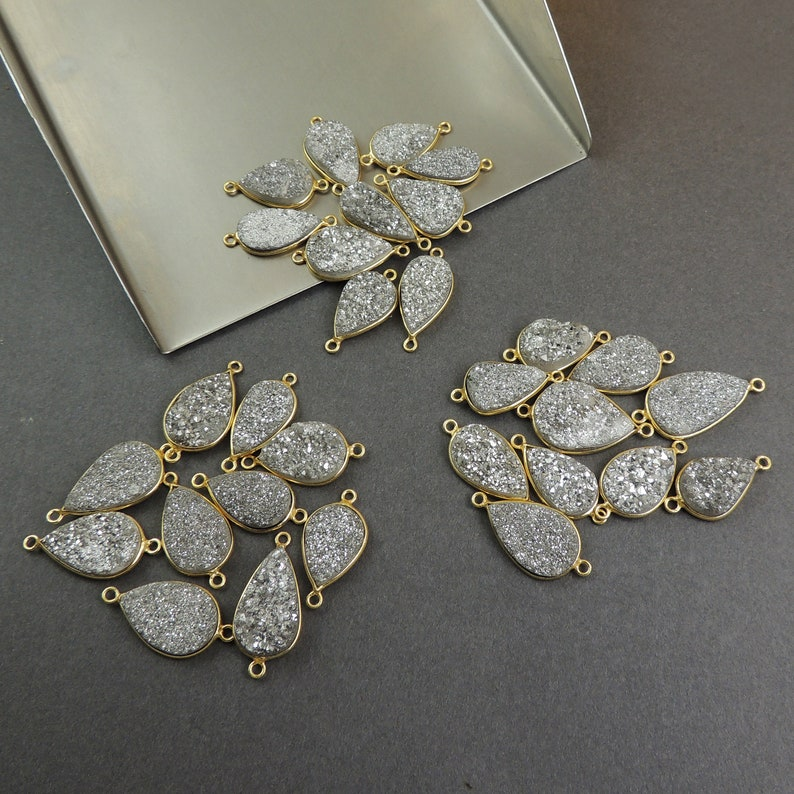 You Choose 10 Pcs Mystic Mix Druzy Druzzy Drusy 24K Gold Plated Pear Double Bail connector PC304